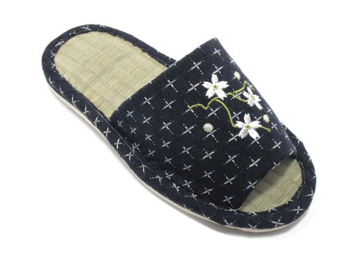 Blue Women Indoor Slippers Bamboo GREEN Jpanese KNP26809T KNP LIFE Flower with Tatami FfBRqFwPx