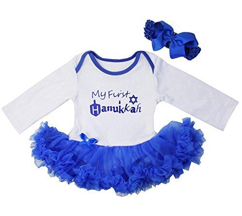 Kirei Sui Baby First Hanukkah Dreidel Star Royal Blue Bodysuit Tutu