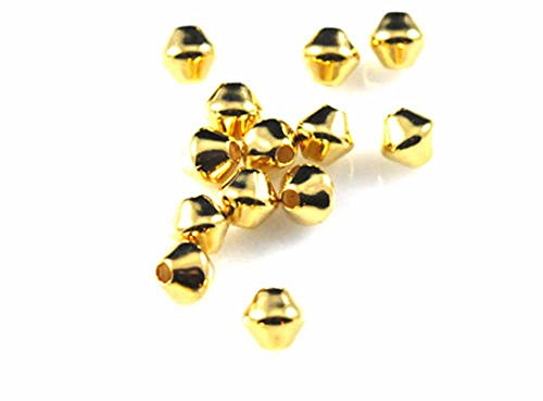 100 Really Neat Gold Double Cone Beads for Jewelry Making, Supply for DIY Beading Projects 5MM