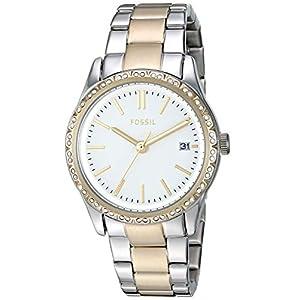 Fossil Women's Adalyn Quartz Two-Tone Stainless Steel Dress Watch, Color: Silver, Gold (Model: BQ3376)