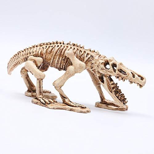 Funnuf Aquarium Decoration Skeleton Hole Resin Artificial Dinosaur Skull Skeleton Ornament - Fish Tank Small Skull Aquarium Decorations, 7.68 Inch