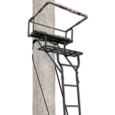 Ameristep 15' Two-Man Ladderstand w/ RealTree AP Seat (Best Hunting Tree Stand)