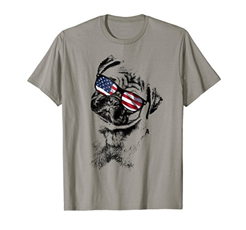 Mens Pug Dogs 4th of July Patriotic T-Shirt Large Slate