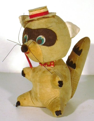 Dakin Dream Pet Raccoon in pork pie hat stuffed animal 1960s from The Jumping Frog