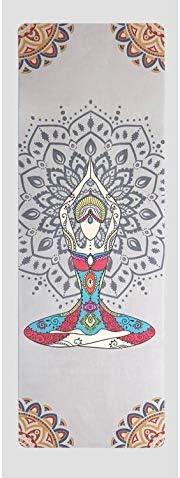 Yoga mat ピラティスについてはスエード布ヨガマット高度な印刷ヨガマット天然ゴム底高密度環境保護ノンスリップエクササイズマット、フィットネス workout