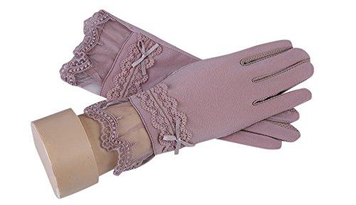 formanism シンプル レースリボン キレイめ UV 日焼け防止 紫外線カット サマー手袋 レディース (パープル)