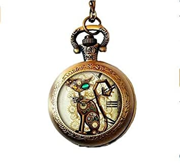 Colgante Steampunk Cat Collar gato steampunk Joyería Steampunk Retro. Regalo de cumpleaños, regalos para él, regalos para su reloj de bolsillo collar: ...