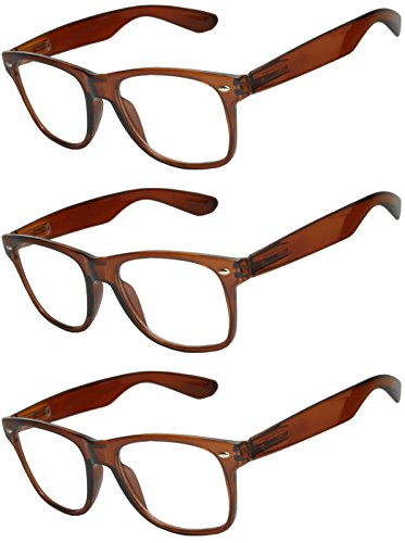 OWL - Non Prescription Glasses for Women and Men - Clear Lens - UV Protection (Brown_Clear_3p, PC - Glasses Retro Online