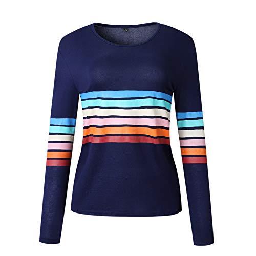 Soluo Women's Crewneck Stripe Color Block Long Sleeve Tops Casual T Shirts Tees Blouses Sweatshirt (Royal Blue,Large)
