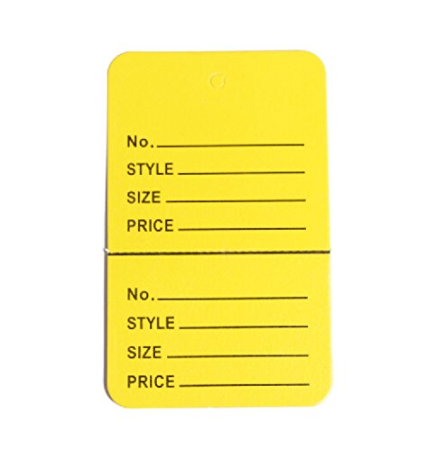 """1-1/4""""×1-7/8"""" Clothing Price Labels/clothing Tag/perforated Price Coupon Tags,yellow Two Part"""