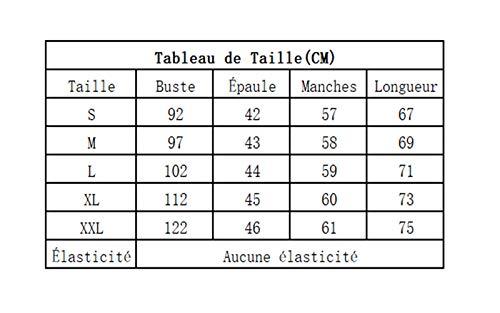 Raye Femme Chemisier Manches Tunique S Col en Longues FIYOTE XXL V WSH7xEn4H