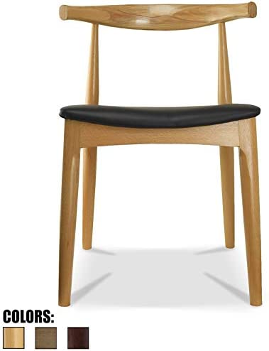 2xhome Contemporary Farmhouse Real Solid Oak Wood PU Leather Cushion Mid Century Modern Dining Chairs Desk Armless No Arm Elbow Side Chair Hans Wegner for Living Room Bedroom Kitchen Natural