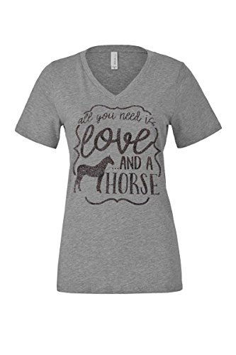 Loaded Lids Women's, Horse, All You Need is Love and a Horse, V Neck T-Shirt (Large, Grey/BlackGlitter) by Loaded Lids