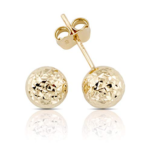 14K Gold Hammered Finish Ball Stud Earrings for Women and Girls (yellow-gold) by Jewels Company