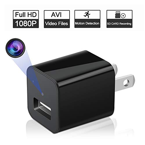Charger Adapter, HD 1080P Mini Small Video Recorder, Support Motion Detection, 32GB Micro SD Card Slot, No WiFi, No Night Vision, for Home Security Bathroom Nanny Kids Watch ()