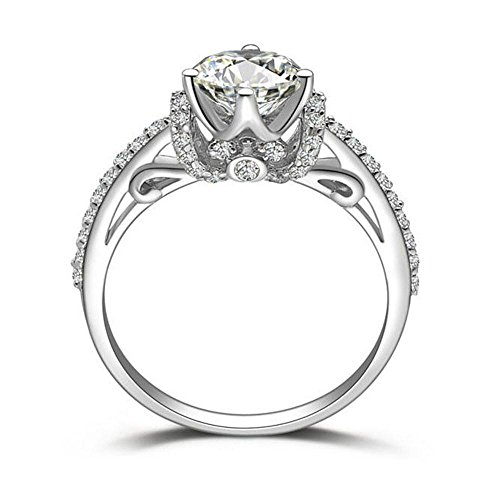 Diamonbella.com 10 Hearts 10 Arrows Cut 1.5 Carat Pave Art Deco Simulated Diamond Ring 925 Silver Platinum Plated RCROWN-80 price tips cheap