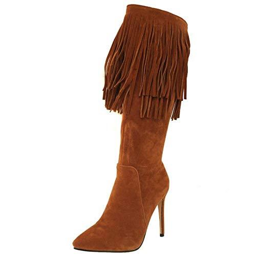Fashion Brown Heel Taoffen Stiletto Long Women Boots Zip CwTwp58xq