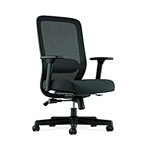 HON Exposure Mesh Task Computer Chair with 2-Way Adjustable Arms for Office Desk, Black (HVL721), Back
