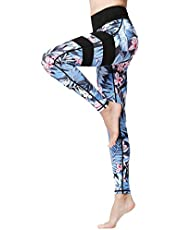 FLYILY Women Yoga Pants Printed High Waist Power Flex Capris Workout Leggings for Fitness Running