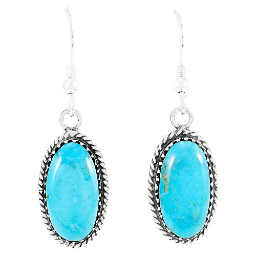 Turquoise Earrings 925 Sterling Silver & Genuine Turquoise (Turquoise)