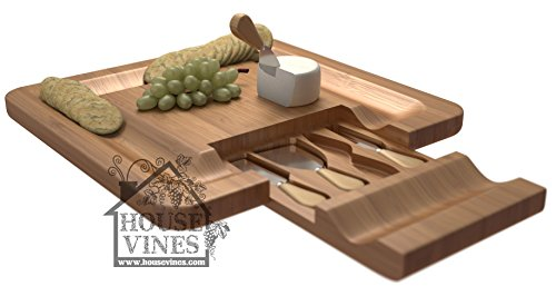 Deluxe Bamboo Cheese and Cracker Serving Tray with Hide-Away 4 Piece Utensil Set ~All Natural Bamboo Board ~ Wine and Cheese party tray ~ Includes Sample Wine Glass Charm ~ By HouseVines (Wine And Cheese Sets)