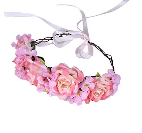 Vivivalue Handmade Boho Rose Flower Headband Hair Wreath Halo Floral Garland Crown Headpiece with Ribbon Festival Wedding Party Pink