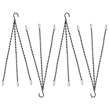 Cozysmart 4 Pack 23 Inchs Iron Replacement Hanging Chain with Hooks-3 Point Garden Plant Flower Pot Basket Hanging