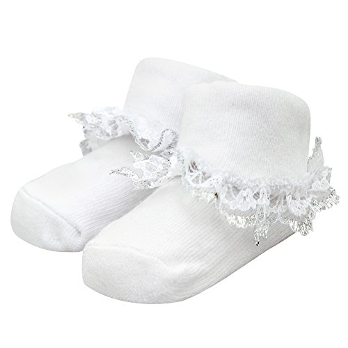 Soft Touch Baby Girl Ruffle Socks - White assorted, size 0-6 months pack of 2