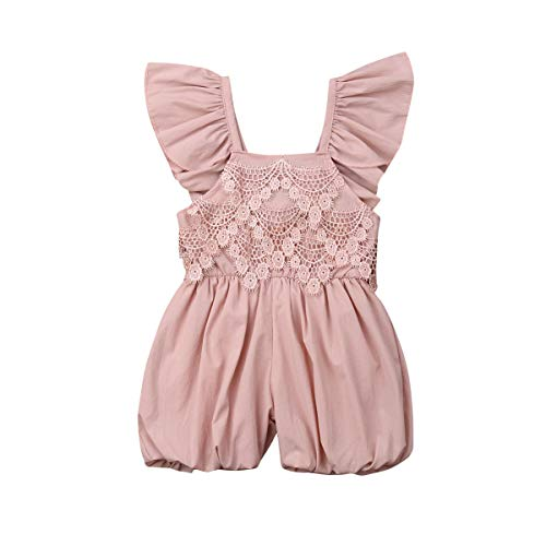 Toddler Baby Kids Girls Pink Jumpsuit, Ruffled Sleeves Lace Romper Sunsuit Summer(12 Months-5 Years) (2-3 Years, -
