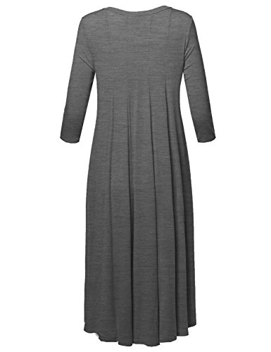 4 Women's USA Neck Awesome21 Flare in Round Casual Made Sleeve Swing Dress 3 Hgray Aawdrt0001 0X77xdH