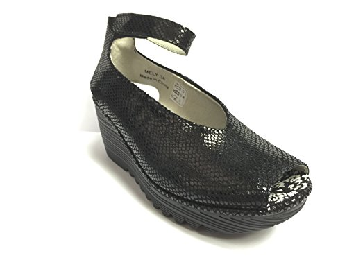 Bernie Mev Womens Black Snake Print Leather Wedges Eur 39