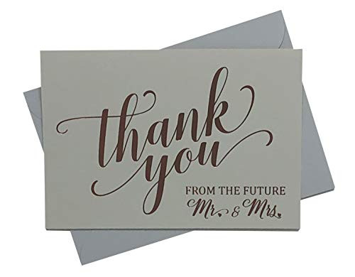 Wedding Shower Thank You Cards - Elegantly Foil Stamped in Rose Gold - Perfect For Showing Your Gratitude to Friends & -