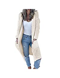 GUYUEQIQIN Women's Casual Cardigan Sweaters, Cozy Open Front Long Sleeve Knit Coat with Pockets