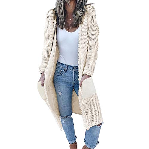 GUYUEQIQIN Women's Casual Cardigan Sweaters Cozy Open Front Long Sleeve Knit Coat with ()