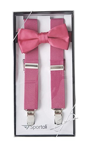 Fuchsia Leather Insert - Suspenders for Kids Gift Set Wedding Tuxedo Genuine Leather Premium 1 Inch Suspender -Fuchsia (30 Inch)