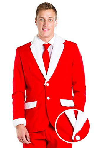(Tipsy Elves Men's Santa Claus Suit - Red and White Santa Christmas Suit:)