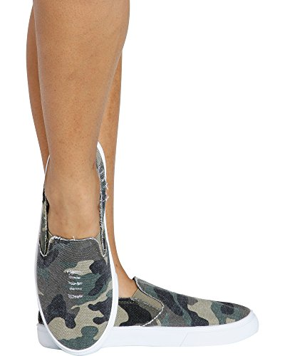 Love University Women's Hide & Seek Twin Gore Slip On Camouflage Fashion Sneaker - Camo,Camo,7 by Love University (Image #1)