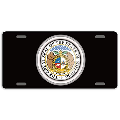 - offtggh License Plate Cover States of USA Seals Missouri Automotive License Plate Novelty Car Tag Metal Decorative Tags Auto Sign Front License Plates 4 Holes 12 X 6 Inches