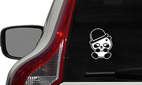 Cute Panda Bowler Magician Hat Car Vinyl Sticker Decal Bumper Sticker for Auto Cars Trucks Windshield Custom Walls Windows Ipad Macbook Laptop and More (WHITE)