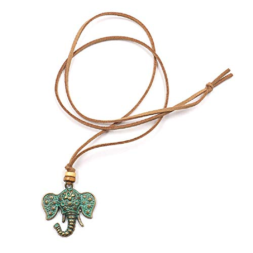 Wcysin Women Girls Antique Vintage Necklace Carved Elephant Charm Pendant Chain Jewelry Silver