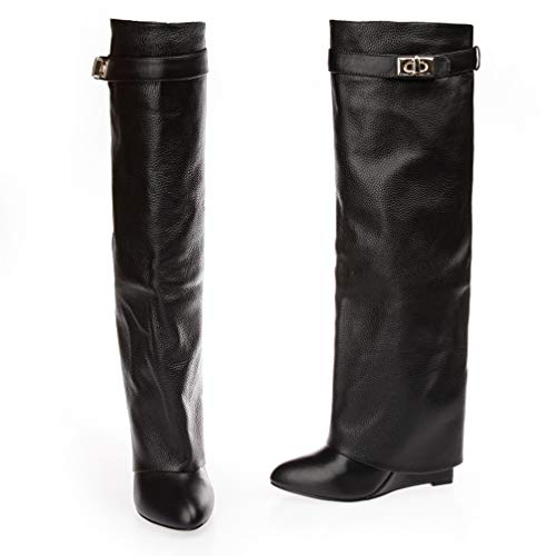 New Leather Long Boots for Women Pointed Toe High Heel Knight Boots Belt Strap Metal Shark Lock Wedge Knee High Boots