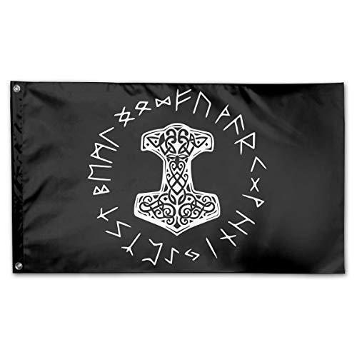 NPZBHoney3x5 Vikings Mjolnir and Rune Wheel Norse Mythology Symbol Flag 3' X 5' Ft Banner Breeze Flag