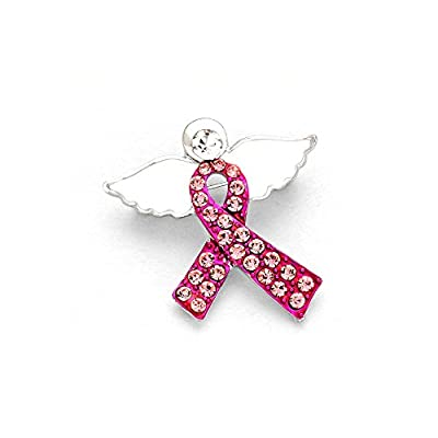 New White Crystal Enamel Pink Ribbon With Angel Wings Brooch hot sale