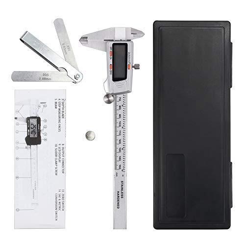 - CAMWAY Digital Vernier Caliper + Feeler Gauge 150mm/6Inch Stainless Steel Body Electronic Caliper Fractions/Inch/Metric Conversion Measuring Tool for Length Width Depth Inner Diameter Outer Diameter