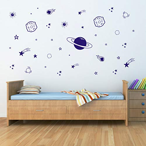 Planet Wall Decal, Boys Room Decor, Outer Space Wall Decals, Star Wall Stickers, Vinyl Wall Decals for Children Baby Kids Boys Bedroom, Nursery Decor Y04 (Blue)