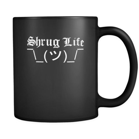 Shrug Life Thug Mug with Shruggie the ASCII Shrugging EMOJI Guy Black Ceramic Graphic Mug 11 ()