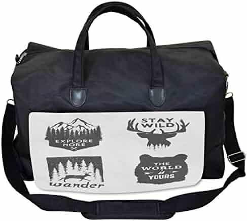 Large Weekender Carry-on Ornate Floral Border Ambesonne Arabesque Gym Bag