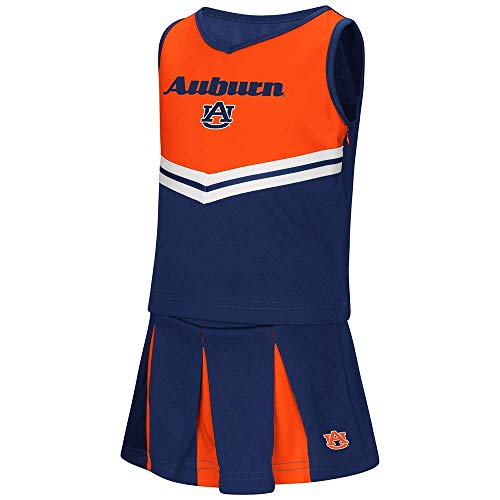 "Colosseum Auburn Tigers NCAA Toddler""Pom Pom"" 2 Piece Set Cheerleader Outfit"