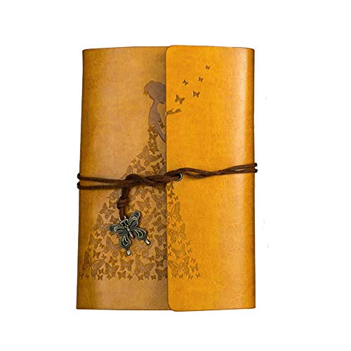 Leather Journal Diary - Fashionme Leather Journal A6 Retro Vintage Spiral Bound Notebook Refillable Diary Writing Sketchbook Notepad Guest Book with Refillable Blank Craft Paper as Gift (Yellow, A6)