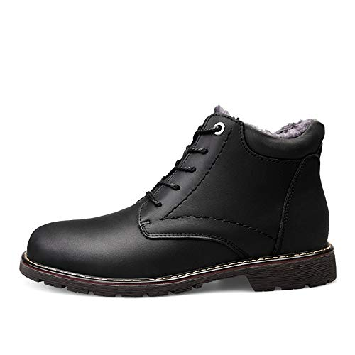 Hilotu Men's Winter Warm Ankle Boots, Casual Cowhide Abrasion Resistant Outdoor Outsole Shoes, High-top Fleece Inside (Conventional Optional) (Color : Warm Black, Size : 7 D(M) US) (Cowhide Platform)
